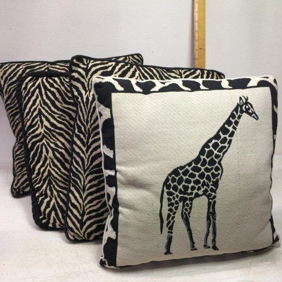 Lot of 4 Zebra & Giraffe Throw Pillows