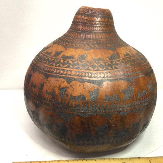 HUGE Vintage Hand Carved Gourd with Very Ornate Elephant Tribal Design