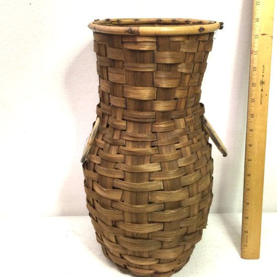 Vintage Hand Woven Split Oak Double Handled Basket