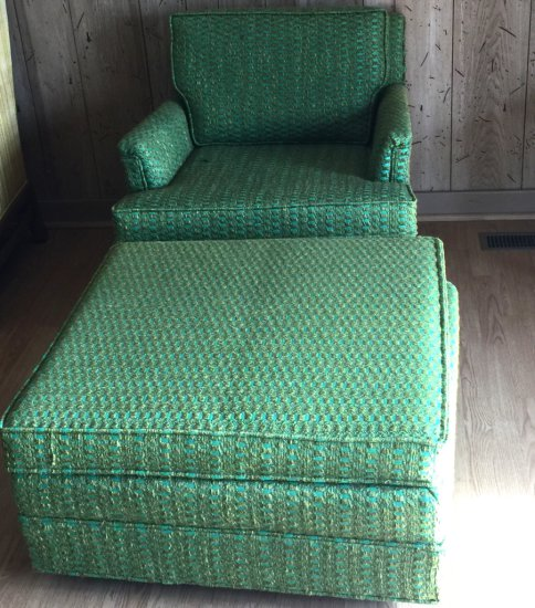 Mid-Century Modern Upholstered Arm Chair on Casters with Matching Ottoman on Casters