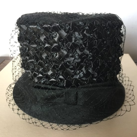 Vintage Black Straw Hat with Netting & Bow