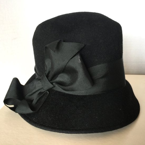 Vintage Black Felt 100% Wool Hat with Bow