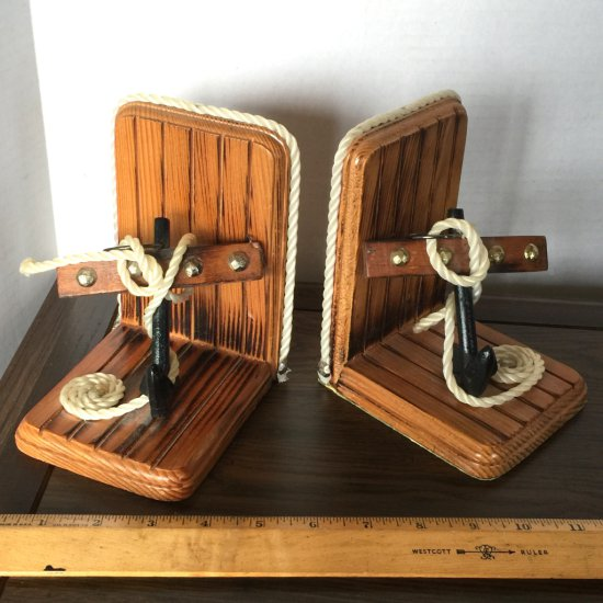 Pair of Wooden Anchor Bookends