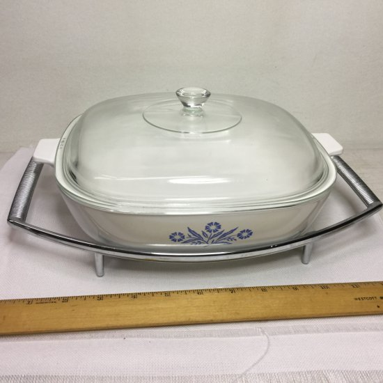 "Vintage Corning Ware Cornflower Blue 10"" Casserole Dish with Lid & Rack"
