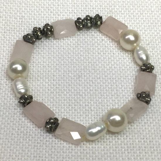 Natural Rose Quartz & Freshwater Pearl Stretch Bracelet