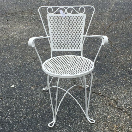 1950's Heavy Wrought Iron Painted Outdoor Patio Chair