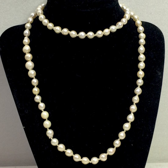 """30"""" Long Natural Cultured Pearl Necklace with 925 Sterling Silver Clasps"""