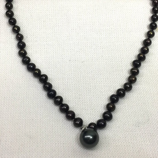 Natural Cultured Black Pearl Necklace with 18K Gold Plate Black Pearl Pendant