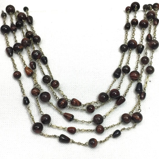Natural Tiger's Eye Multi-Strand Beaded Necklace