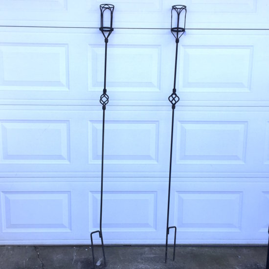 Pair of Heavy Outdoor Wrought Iron Torch Post Stands