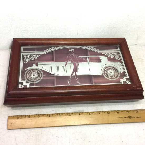 Vintage Wooden Art Deco Reverse Painted Glass Top Dresser Jewelry Box