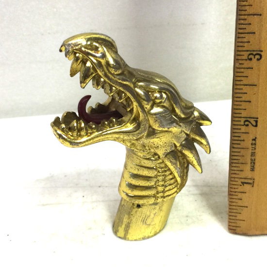 Vintage Heavy Brass Tone Dragon Head Top for Walking Stick/Cane