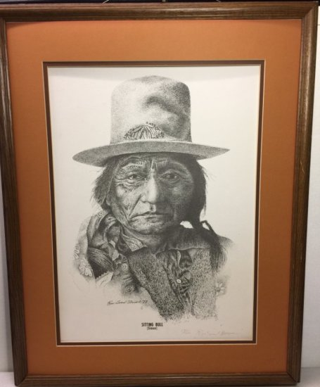 """Large Vintage """"Sitting Bull"""" American Indian Dakota Sioux Tribe Framed, Matted Signed & Numbered"""