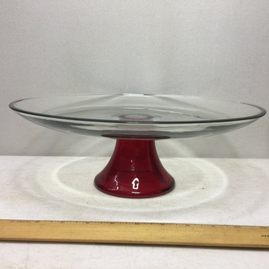Ruby Red Pedestal Cake Plate