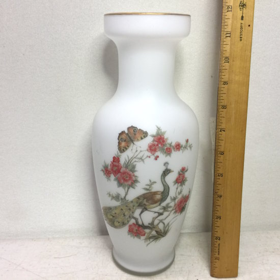 Vintage Norleans Satin Glass Frosted Peacock Vase with Foil Label on Bottom