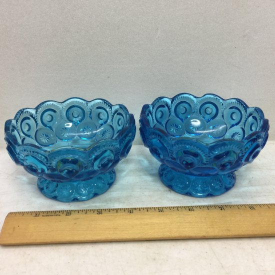 Pair of Vintage Blue Moon & Stars Glass Dishes
