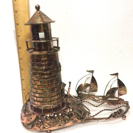 Copper Tone Tin Lighthouse Music Box