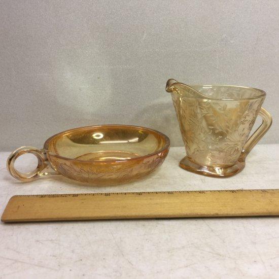 Vintage Carnival Glass Creamer & Saucer