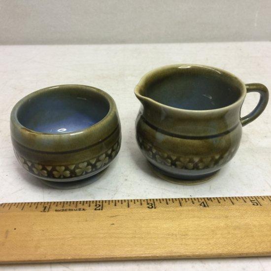 Pair of Vintage Porcelain Creamer & Sugar Set Made in Ireland