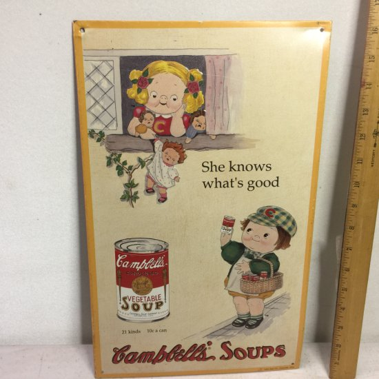 1993 Campbell's Soup Metal Advertisement Sign