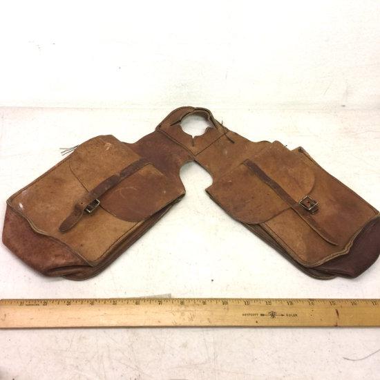 Vintage Leather Horn Double Saddle Bag for Horse Saddle