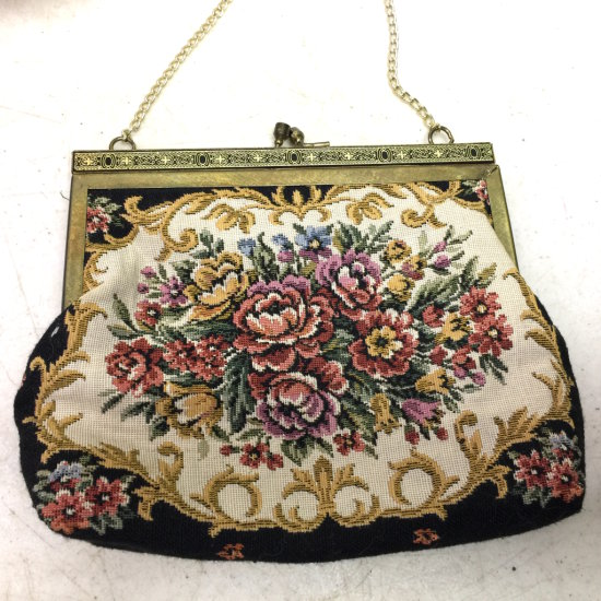 Vintage Floral Tapestry Purse Made in Hong Kong
