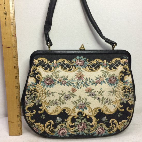Vintage G.H.L. Princess Style Tapestry Purse Made in Germany