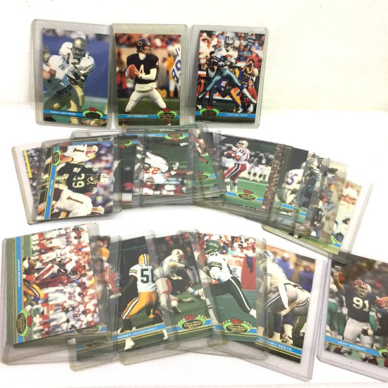 Lot of 1991 Topps Stadium Club Football Cards in Plastic Sleeves