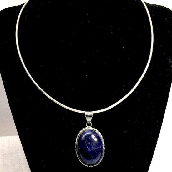 Sterling Silver Choker & Sterling Silver Pendant with Large Blue Stone