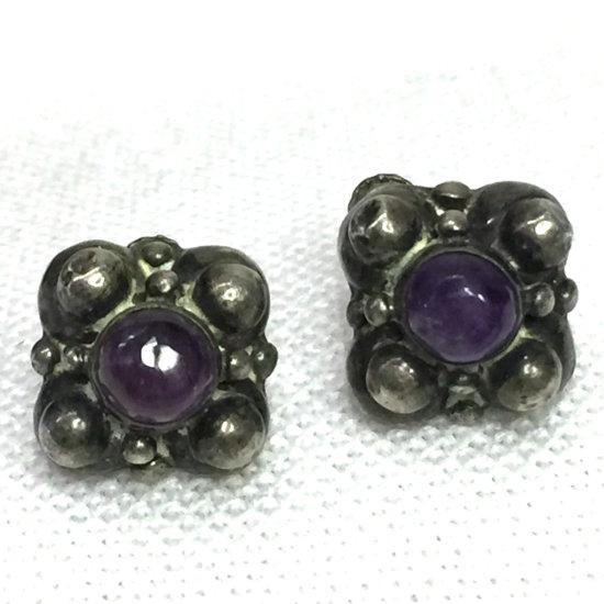 Vintage Sterling Silver Screwback Earrings with Purple Stones