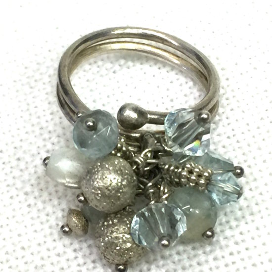 Sterling Silver Ring with Beads Adjustable