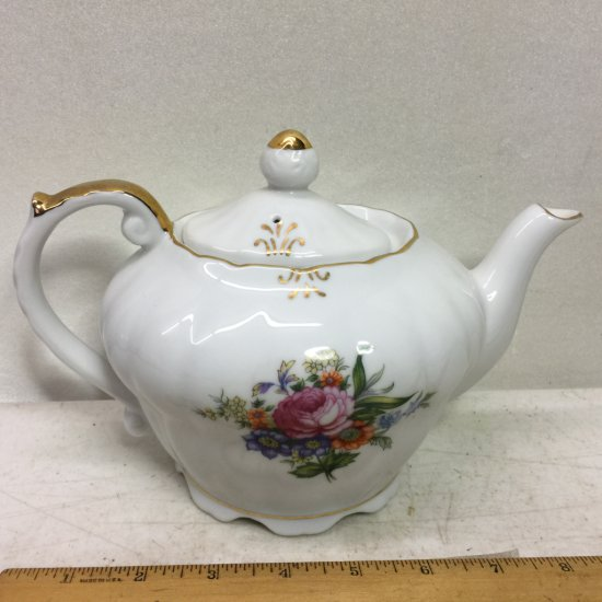 Vintage Musical Floral Porcelain Teapot with Gold Gilt & Floral Design Made in Japan