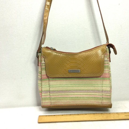"Signed ""Liz Claiborne"" Spring Pastels Canvas & Leather Handbag"