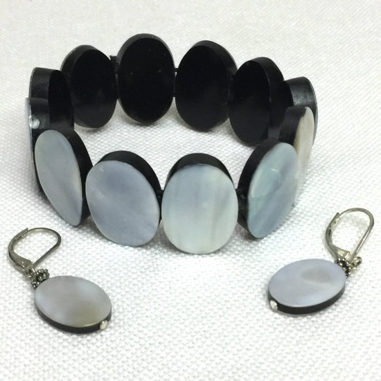 Abalone Shell Bracelet with Matching Earrings