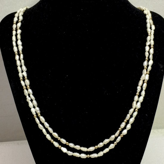 Natural Freshwater Pearl Double Strand Necklace