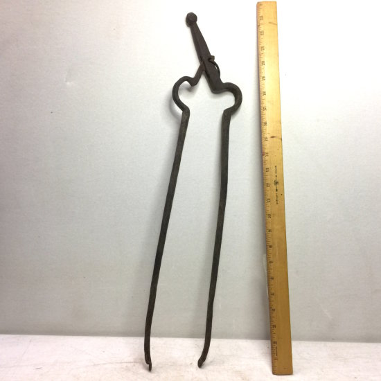 Antique Primitive Blacksmith-Forged Fireplace Ember Tongs
