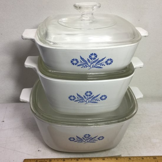Set of Vintage Cornflower Blue Corning Ware Casserole Dishes with Lids