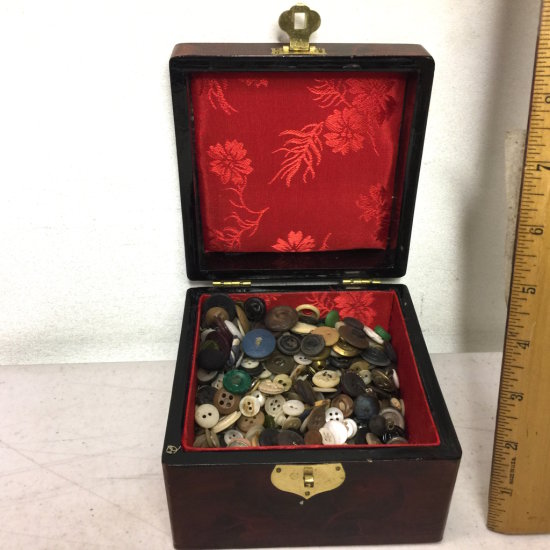 Lacquer Box with Red Lining Full of Buttons