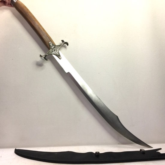 Large Decorative Sword with Sheath & Wooden Handle