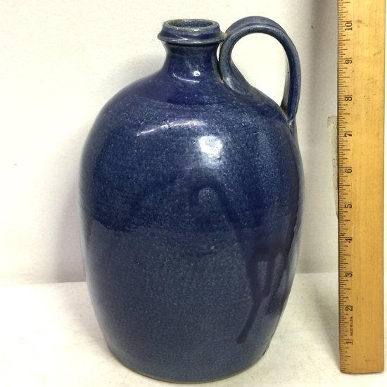 1991 Blue Pottery Jug Signed on Bottom