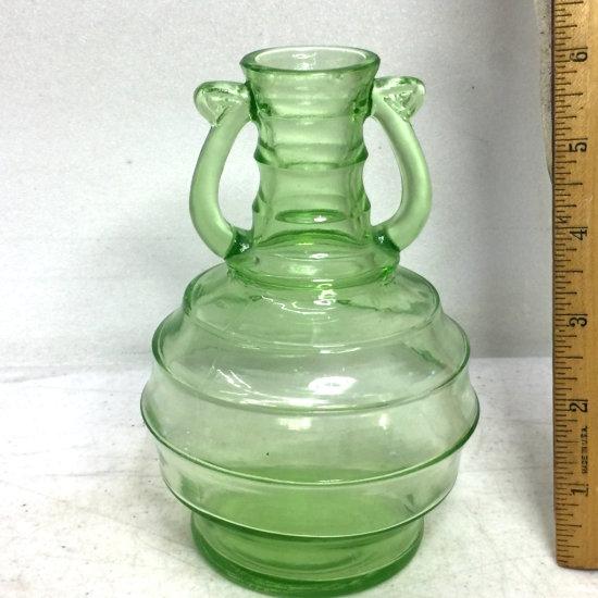 Vintage Vaseline Glass Beehive Decanter