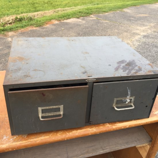 Metal Card File Cabinet Full of Shoe Working Items