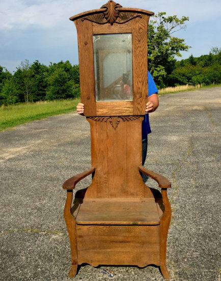 Antique Oak Hall Tree with Mirror From Kearns Furniture Co. High Point NC