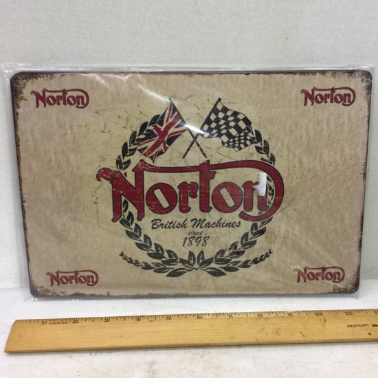 "Metal ""Norton British Machines"" Sign - Sealed"