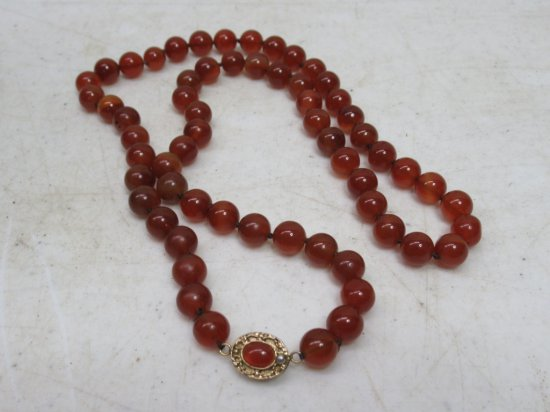 Natural Red Carnelian Knotted Bead Necklace With Ornate Clasp
