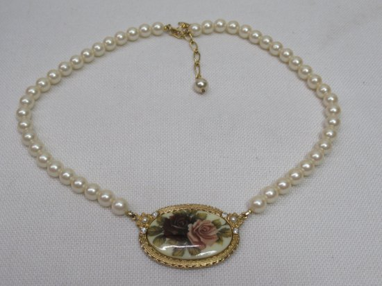 Vintage Floral Rose Cameo Rhinestone and Faux Pearl Necklace