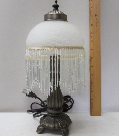 Glass Table Lamp With Glass Bead Fringe