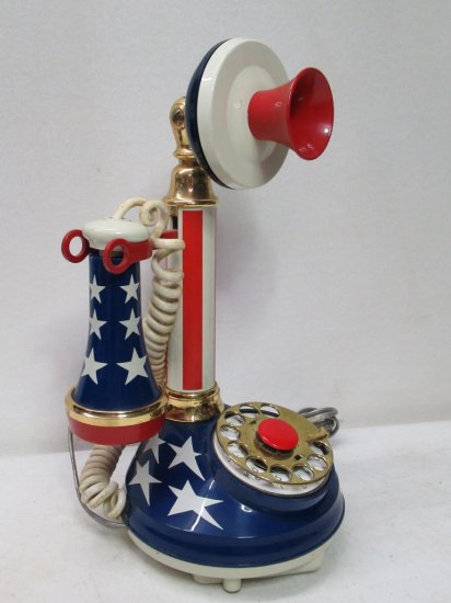 Vintage 1973 Patriotic Red White and Blue Rotary Dial Candlestick Phone