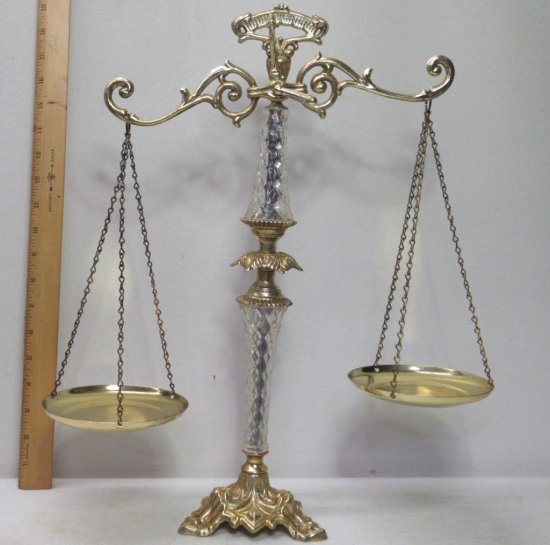 Vintage Brass and Glass Justice Scales  Made in USA