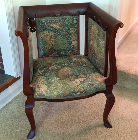 Early High Back & Side Flame Grain Mahogany Parlor Chair w/Applied Carving & Queen Anne Legs